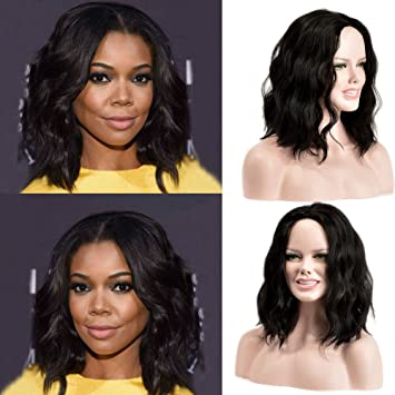 New Year Gifts 2019 Black Synthetic Wig For Women Shoulder Length Hair Heat Resistant Fiber Natural Hair Full Wig Middle Part Wigs For Black Women