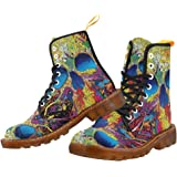Artsadd Fashion Shoes Colorful Skull Lace Up Boots for Women