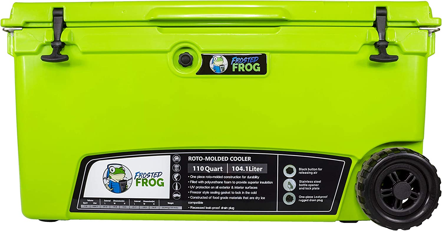 Frosted Frog Original Green 110 Quart Ice Chest Heavy Duty High Performance Roto-Molded Commercial Grade Insulated Cooler with Wheels