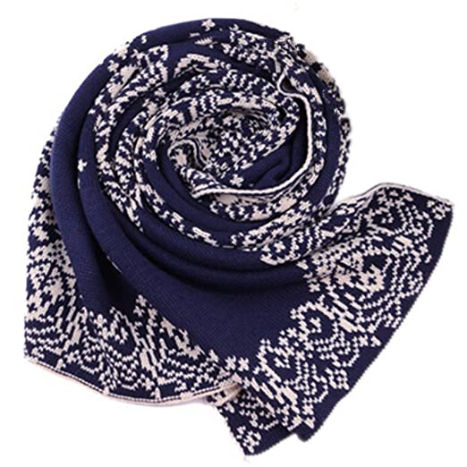 22ab6754da4bd Great Paisley Scarves,Dealzip Inc Ethnic Style Autumn Winter Blue and White  Porcelain Design Knitted