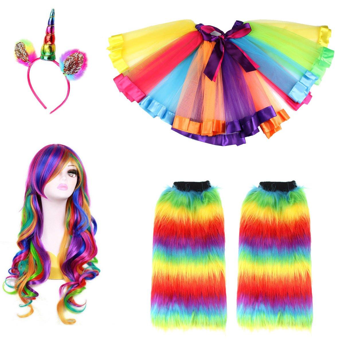 Adult Rainbow Costume Sets Wave Wig Long Gloves Stockings Tutu Skirt Floral Headband (J)