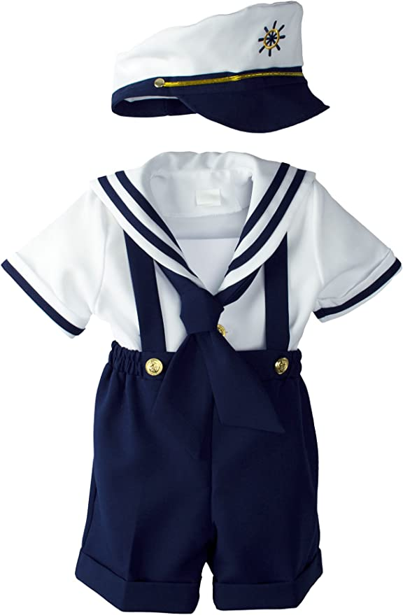 stylesilove Baby Boy Marine Sailor Costume Short Sleeve Romper Onesie with Hat 2 pcs Set