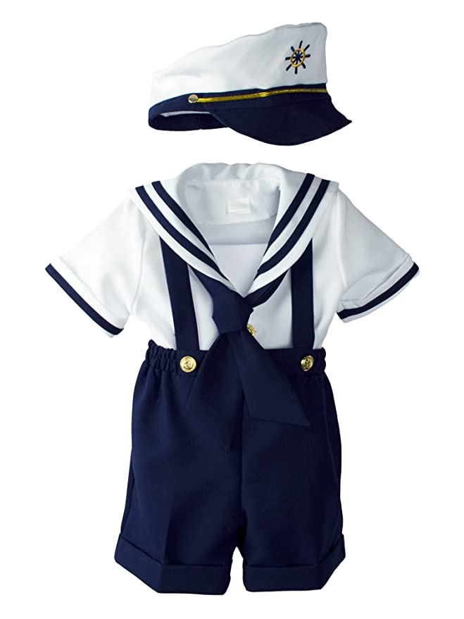 Kids 1950s Clothing & Costumes: Girls, Boys, Toddlers Baby Toddler Boys Nautical Sailor Short Suit Set with Hat $34.95 AT vintagedancer.com