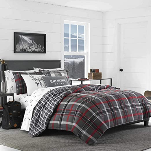 CHECK TARTAN GREY RED COTTON BLEND KING SIZE 4 PIECE BEDDING SET