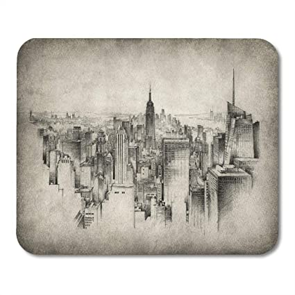 Amazon Com Emvency Mouse Pads City Sketch New York Drawing Urban