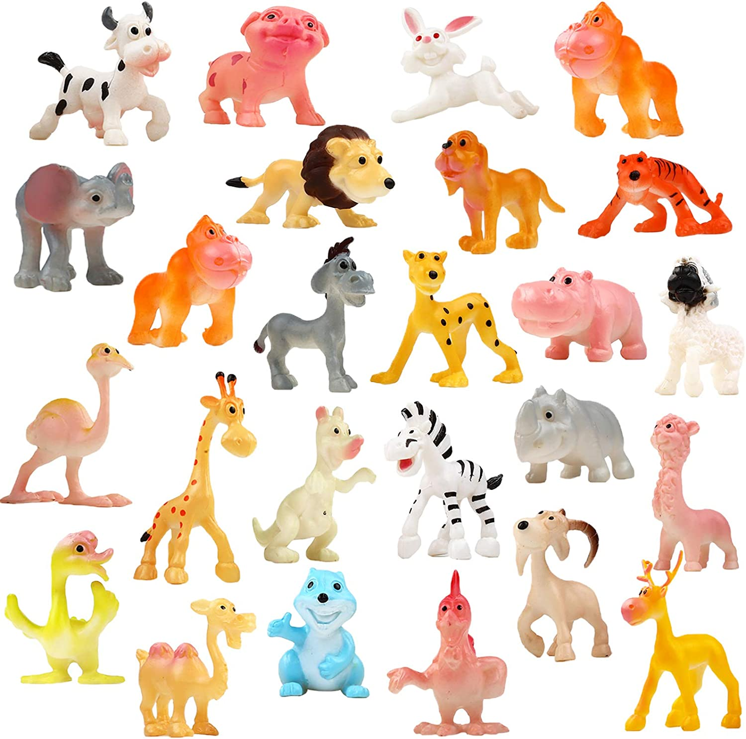 Amazon Com Funcorn Toys Cartoon Animal 24 Pack Mini Plastic Wild Animals Models Toys Kit Jungle Animal Figures Set For Children Boys Girls Kids Party Favors Classrooms Rewards Birthday Gift Educational Toy
