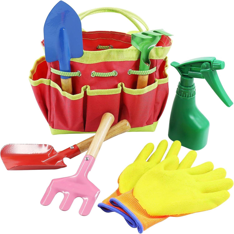 AGAKY Kids Gardening Set 7 Piece, Kids Gardening Tools with Shovel, Rake, Weed Fork & Carry Bag, Durable Garden Toys for Children, Beach Trowel Set, Garden Small Hand Tools, Gardening Gifts for Child