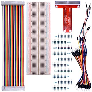 Para Raspberry Pi 3, Kuman 830 MB-102 Tie Points Solderless Breadboard+ GPIO T tipo de Placa de Expansión+ 65pcs Cables de Puente + 40pin Rainbow Ribbon Cable + Resistores 100pcs K73