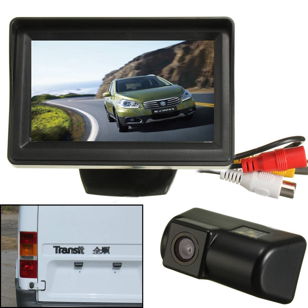 Audew Car Backup Camera Ccd Monitor Reverse Rear View Kit For Ford Transit Connect 43 Inch Motorbike