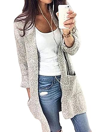 Ray-JrMALL Women's Long Sleeve Open Front Cardigans Mid Length ...