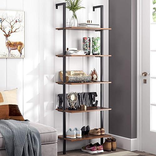 Homfa 5-Tier Industrial Ladder Shelf Against The Wall