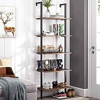 Homfa 5-Tier Industrial Ladder Shelf Against The Wall, 72.6 Inches Display Storage...