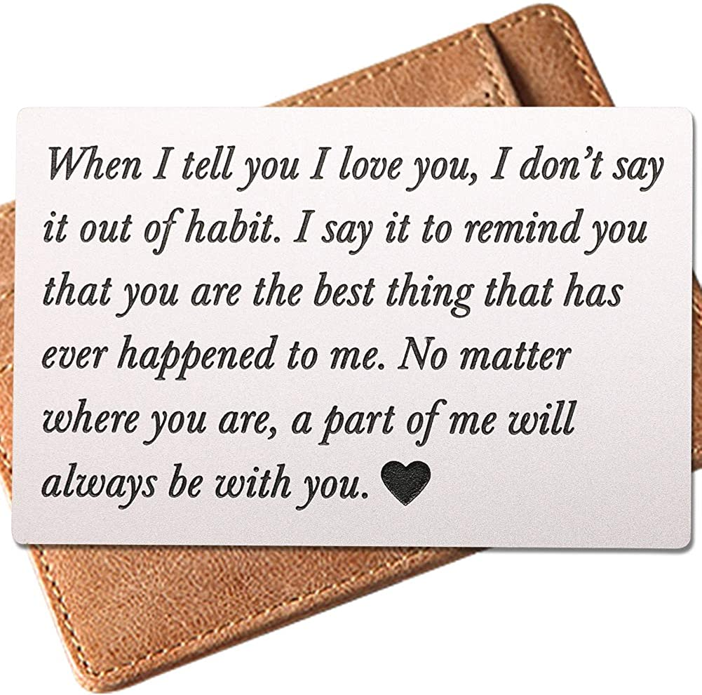 Engraved Wallet Inserts,Bset Gifts for Men, Anniversary Gifts, Boyfriend Gifts
