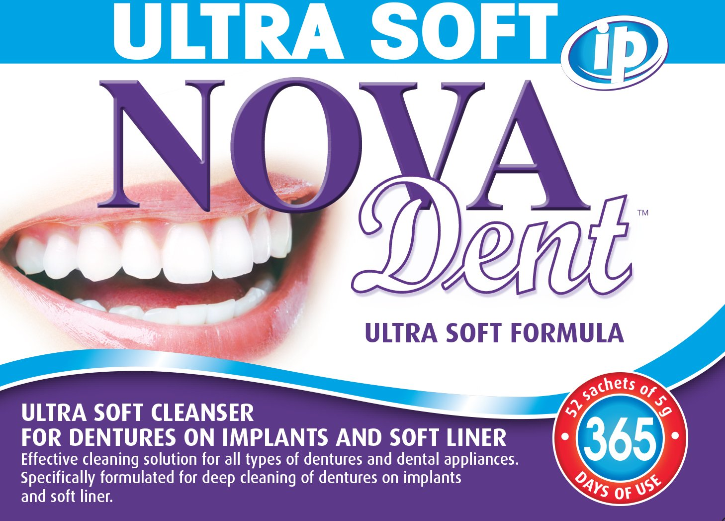 Novadent iP Ultra Soft + FREE soaking bath | Dentures and dental appliances cleanser | 1 year (52 sachets) Novalab Canada inc.