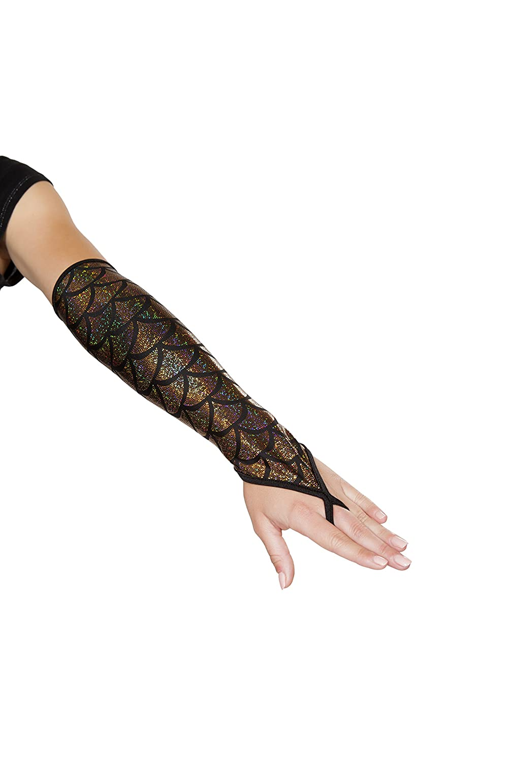 Iridescent Gold Mermaid Fingerless Elbow Length Gloves - DeluxeAdultCostumes.com