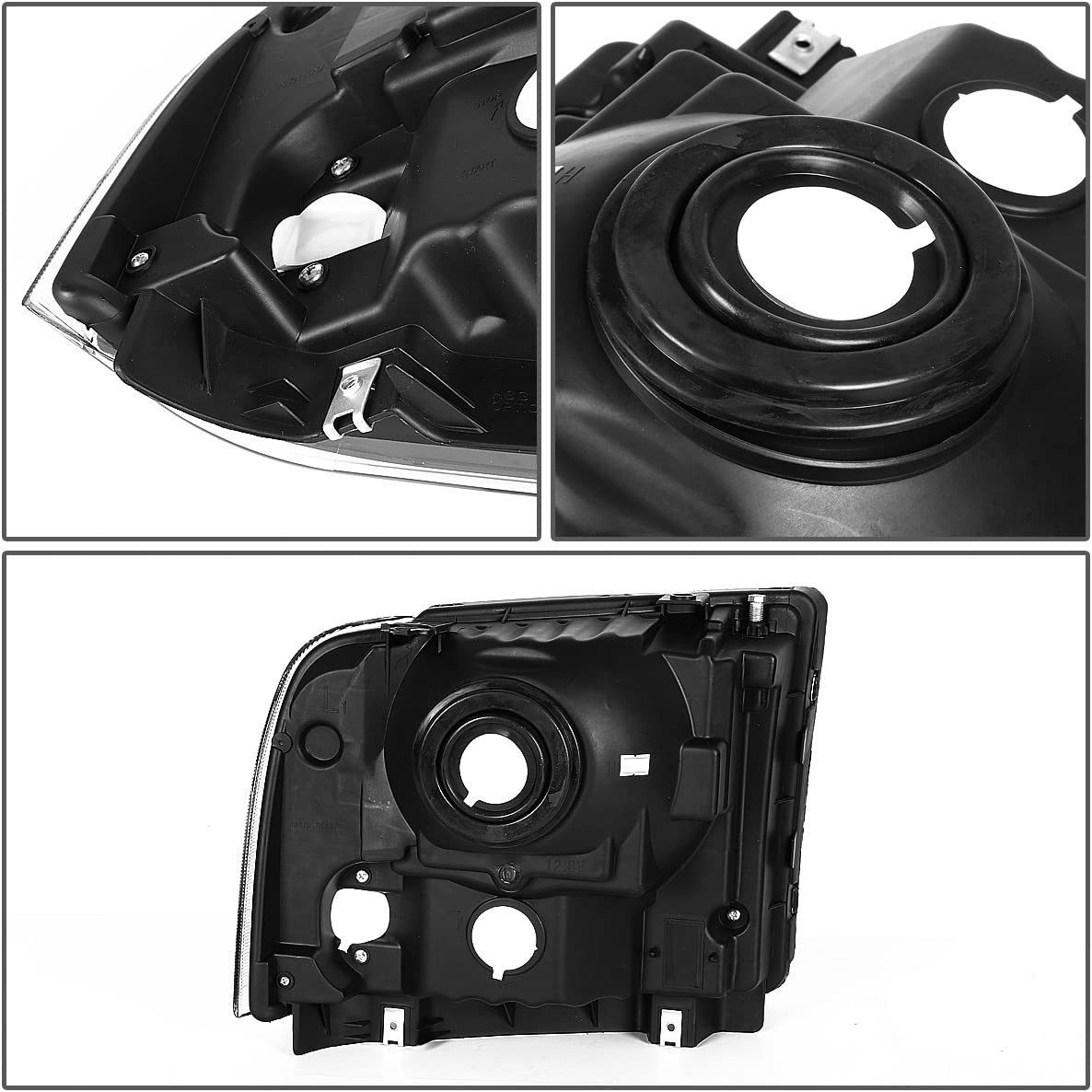 Replacement for Ford Super Duty 1st Gen F250-550 Pair Black Housing OE Style Headlight Lamp