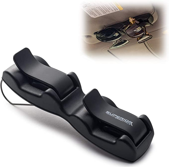 FinWell Universal Car Visor Sunglasses Case Clip in Style Glasses Storage Case One Hand Operate Sun Glasses Holder