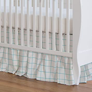 Organic 100/% Cotton Crib Skirt Made in The USA Carousel Designs Aqua and Bubblegum Pink Buffalo Check Crib Skirt 17-Inch Gathered 17-Inch Length