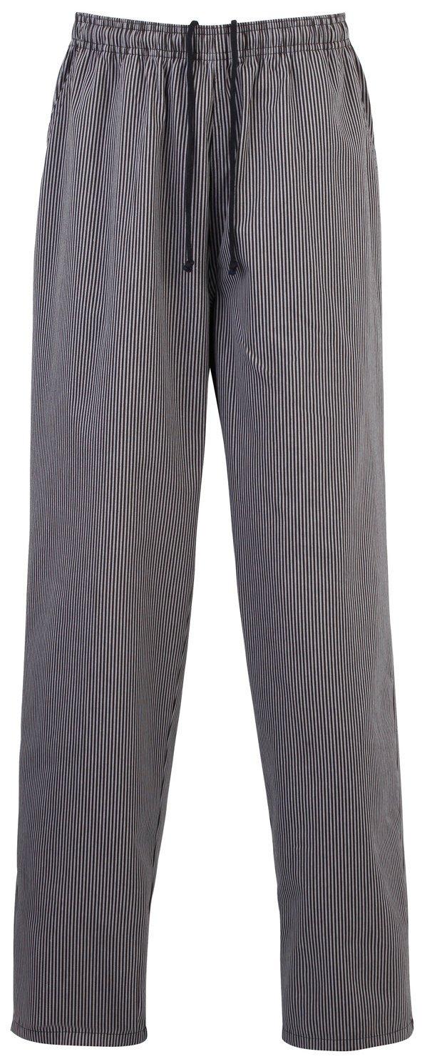 Premier Essential Chefs Trouser - - Black/Grey Fine Stripe - XS