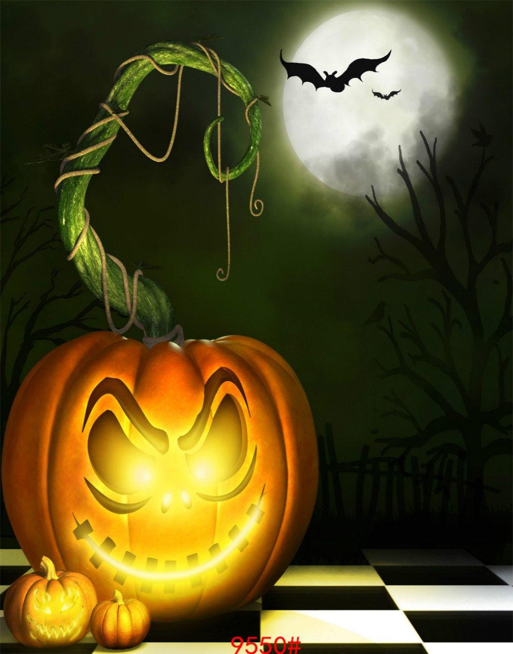 ホラーハロウィン照明ランタンパンプキン写真の背景幕Terror Bat MoonカーニバルパーティーStudioフォト背景 3X4FT 9550 B076H1RB1H