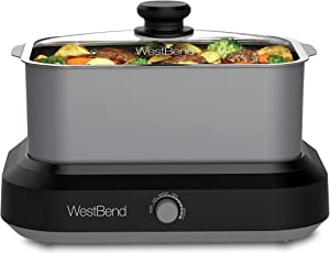 West Bend 87905 Large Capacity Non-stick Versatility Slow Cooker with 5 Different Temperature Control Settings Dishwasher Safe Includes a Travel Lid, 5-Quart, Silver