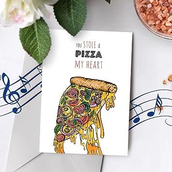 amazon com musical cheesy anniversary card pizza greeting card