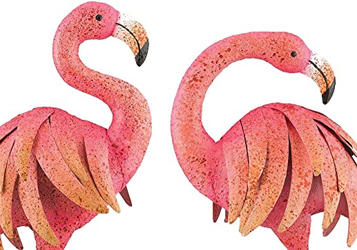 Outdoor/Indoor Accent Metal Pink Flamingo 25″ Figurine Statues Bird 2pc