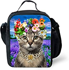 e50628ea7bfc Nopersonality Pretty Cat Lunch Bag for Teen Girls Youth Women Lunch Box  with Flower