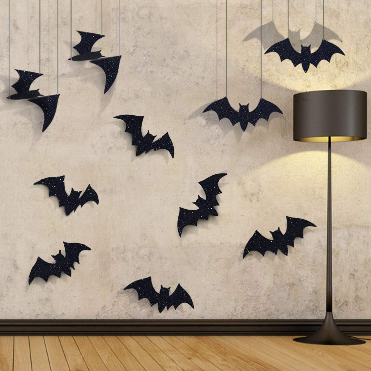 Pawliss Halloween Decorations, 10 Pcs Hanging Bats and Wall Decals Window Stickers, Bat Halloween Yard Decorations Outdoor Party Decor