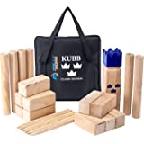 Kubb Yard Game Set by Rally and Roar for Adults, Families - Fun, Interactive Outdoor Family Games - Durable Blocks with Trave