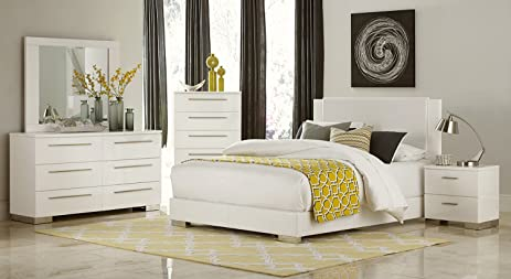 Lisle Full 5 Piece Bedroom Set In White High Gloss Lacquer