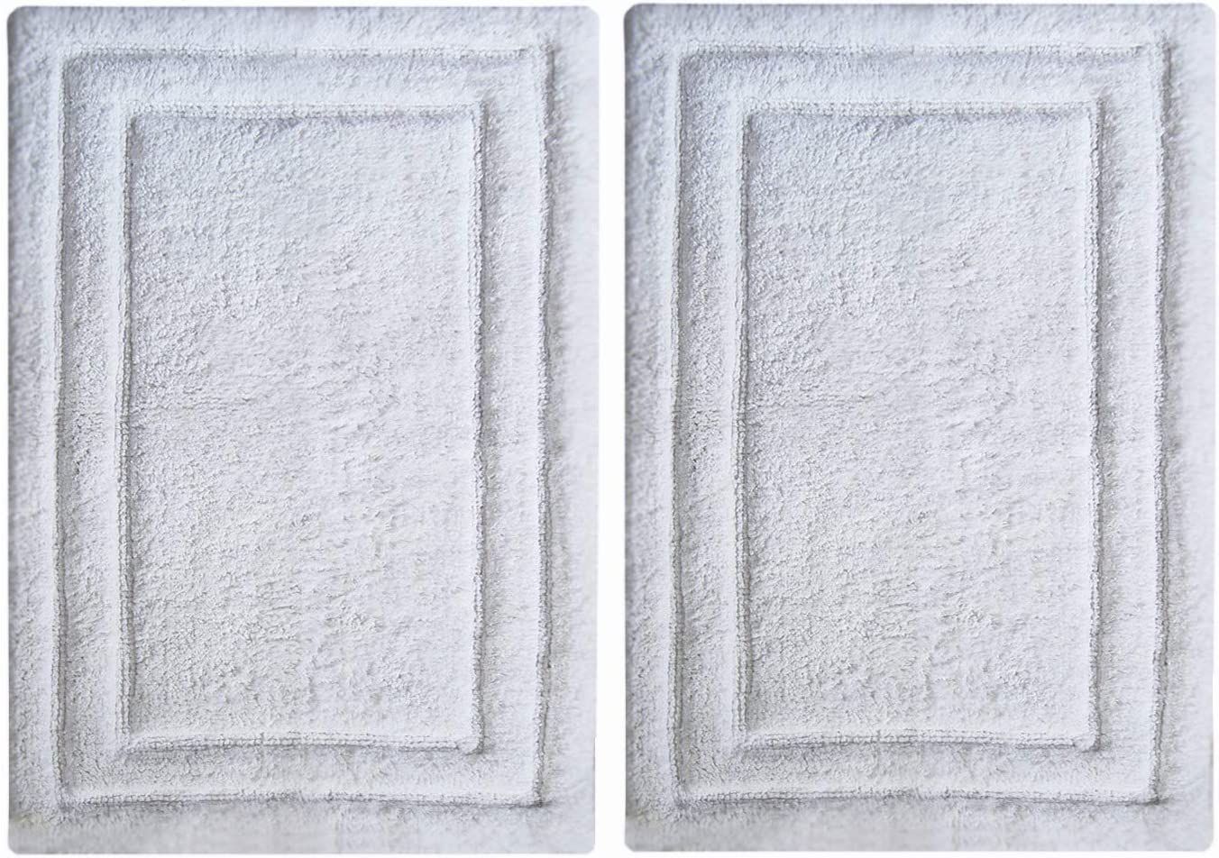 CHARDIN HOME 100% Cotton Bathroom Rugs   Set of 2 Bath mats (17x24/17x24) with Non-Slip Spray Latex (White)