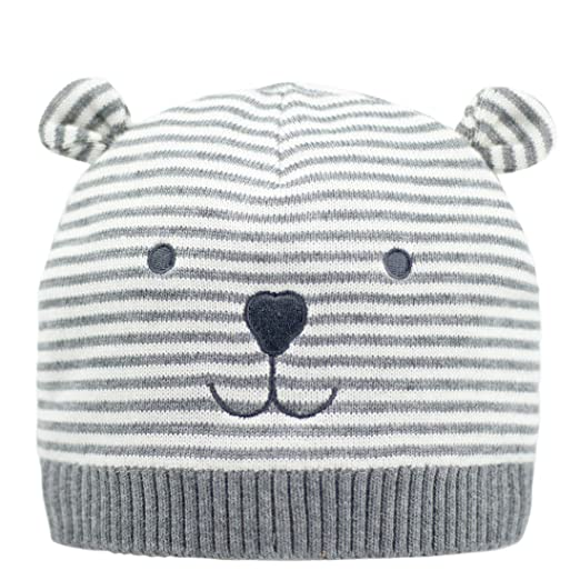 ERISO Unisex Baby Striped Bear Cap Soft Knitted Beanie Newborn Hat (2-6  Months ad837501c2a