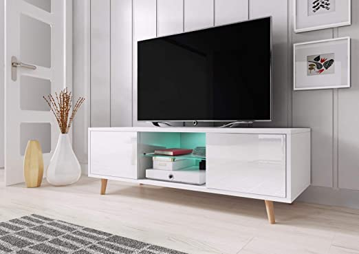 VIVALDI Mueble para TV - SWEDEN - 140 cm - Blanco Mate con Blanco ...