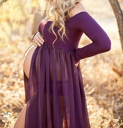 D-Pink - Vestido largo de maternidad, maxivestido para sesión fotográfica de embarazada morado Talla única : Amazon.es: Ropa y accesorios