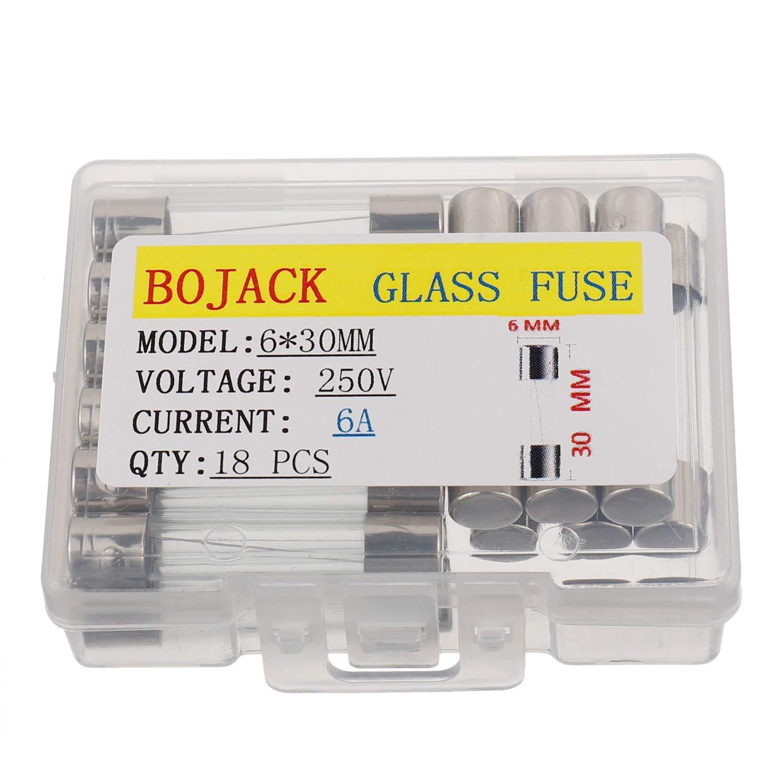 paquete de 18 piezas BOJACK 6x30 mm 6 A 250 V 0.24x1.18 pulgadas F6AL250V 6 amp 250 voltios Fusibles de vidrio de soplado r/ápido