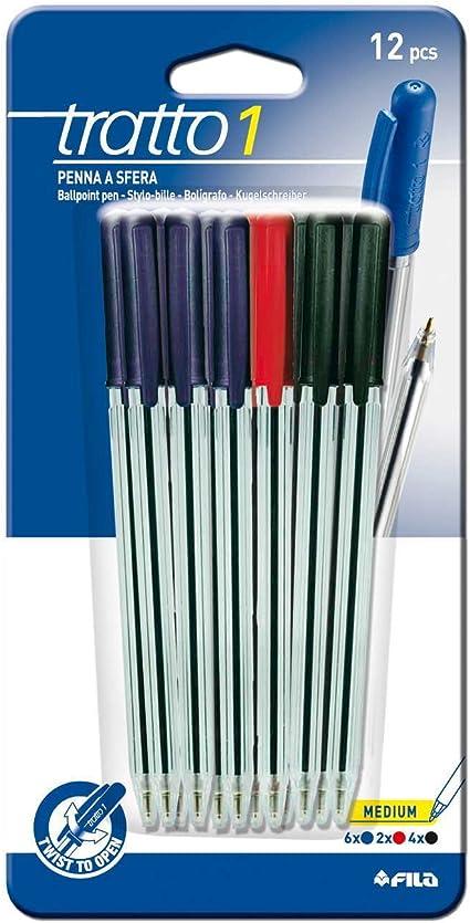 colore: turchese Tratto 042000-Confezione di 12 penne a sfera retrattili a rotazione Bianco 0,5 mm larghezza Tratto verde e rosso sfera in ottone