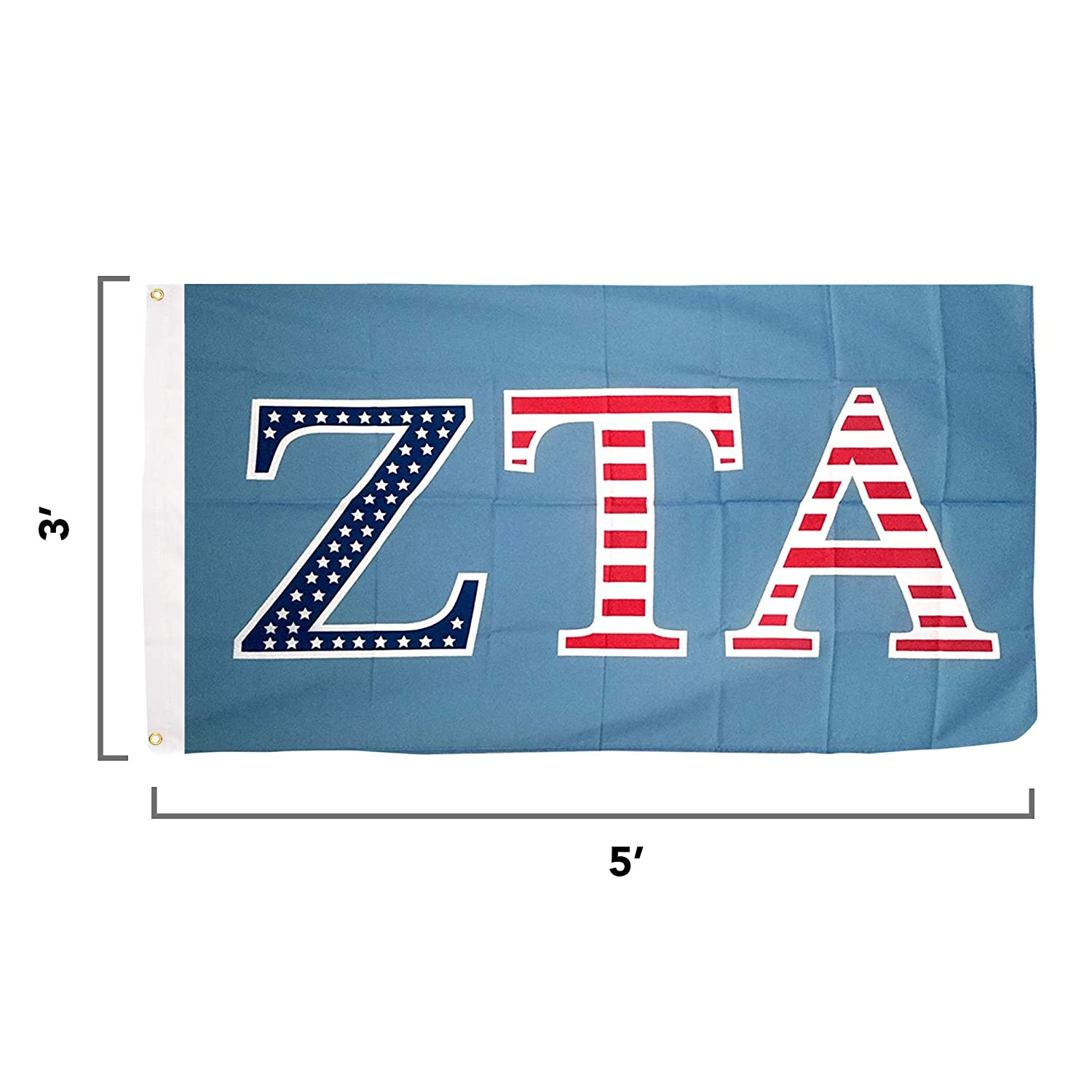Zeta Tau Alpha ZTA USA Letter Sorority Flag Greek Letter Use as a Banner  Large 3 x 5 Feet Sign Decor Zeta