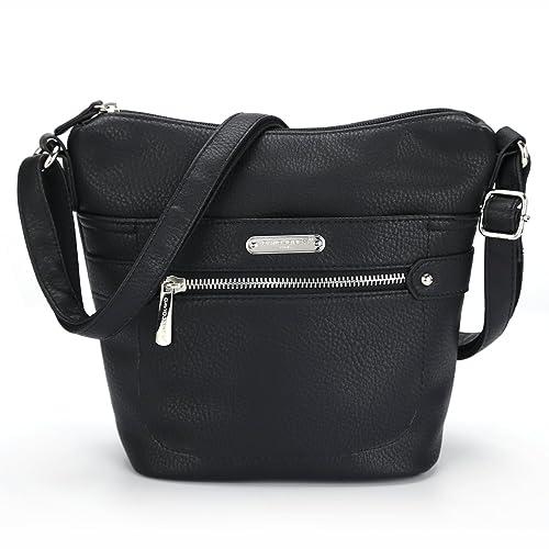 DAVID - JONES INTERNATIONAL Ladies Faux Leather Black Multi Pocket Zipper  Crossbody Bucket Purse 633329c8a6c45
