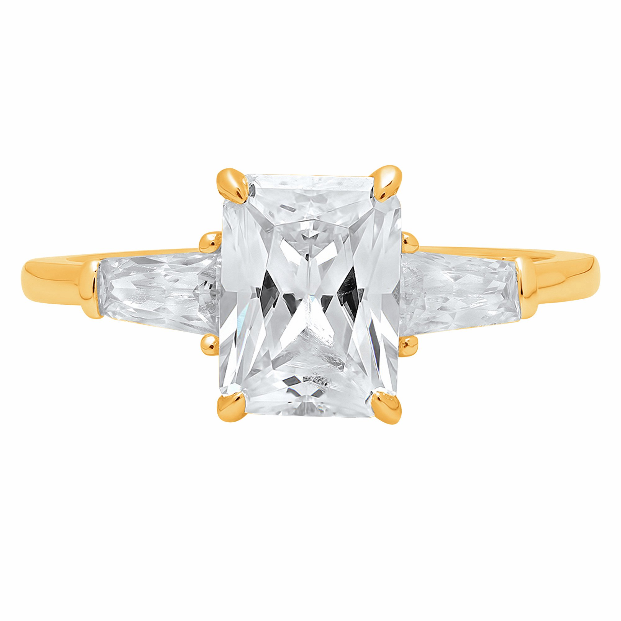 1.9ct Brilliant Emerald Cut Solitaire 3-Stone Engagement Bridal Wedding Anniversary Promise Band Ring Solid 14K Yellow Gold for Women, 6.5 by Clara Pucci