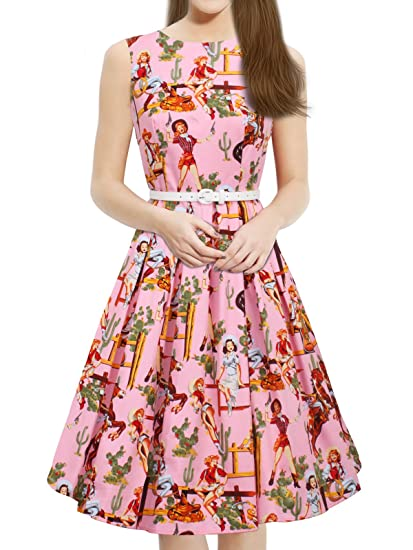 e028e436cd7f Luouse 'Lana' Vintage 1950's Inspired Swing Evening Dress: Amazon.co ...