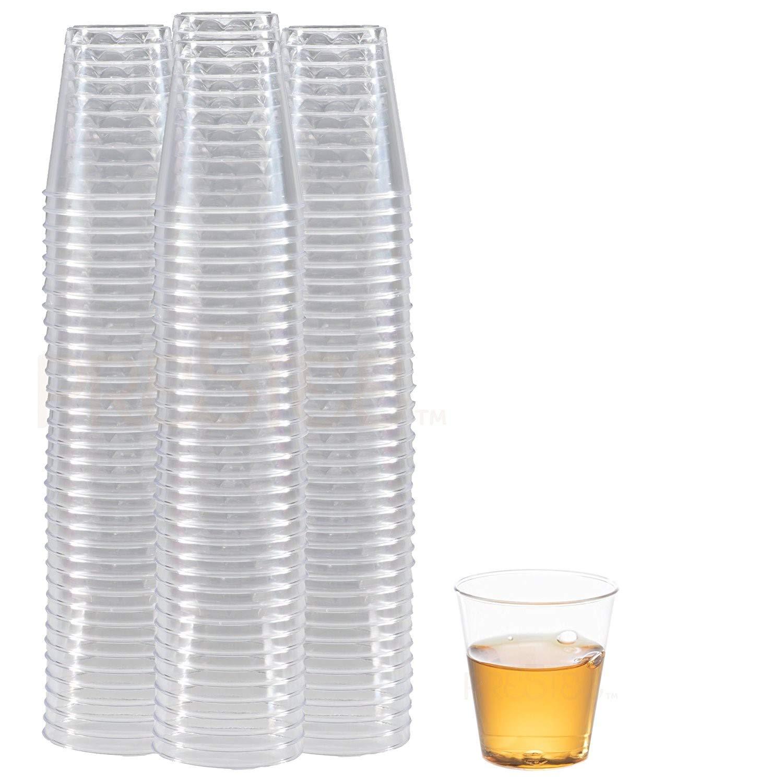 DRINKET CLEAR PLASTIC SHOT GLASSES 1.5 Oz - Disposable Shot Glasses Bulk - Wine Tasting Cups - Small Plastic Tumbler - Shooter, Whiskey Mini Shot Cups - Hard small plastic cups bulk - 100 Pack. by Prestee