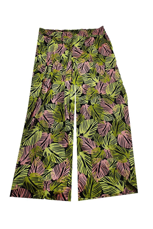 Bar Iii Green Multi Palm Print Wide-Leg Soft Pants Xxl