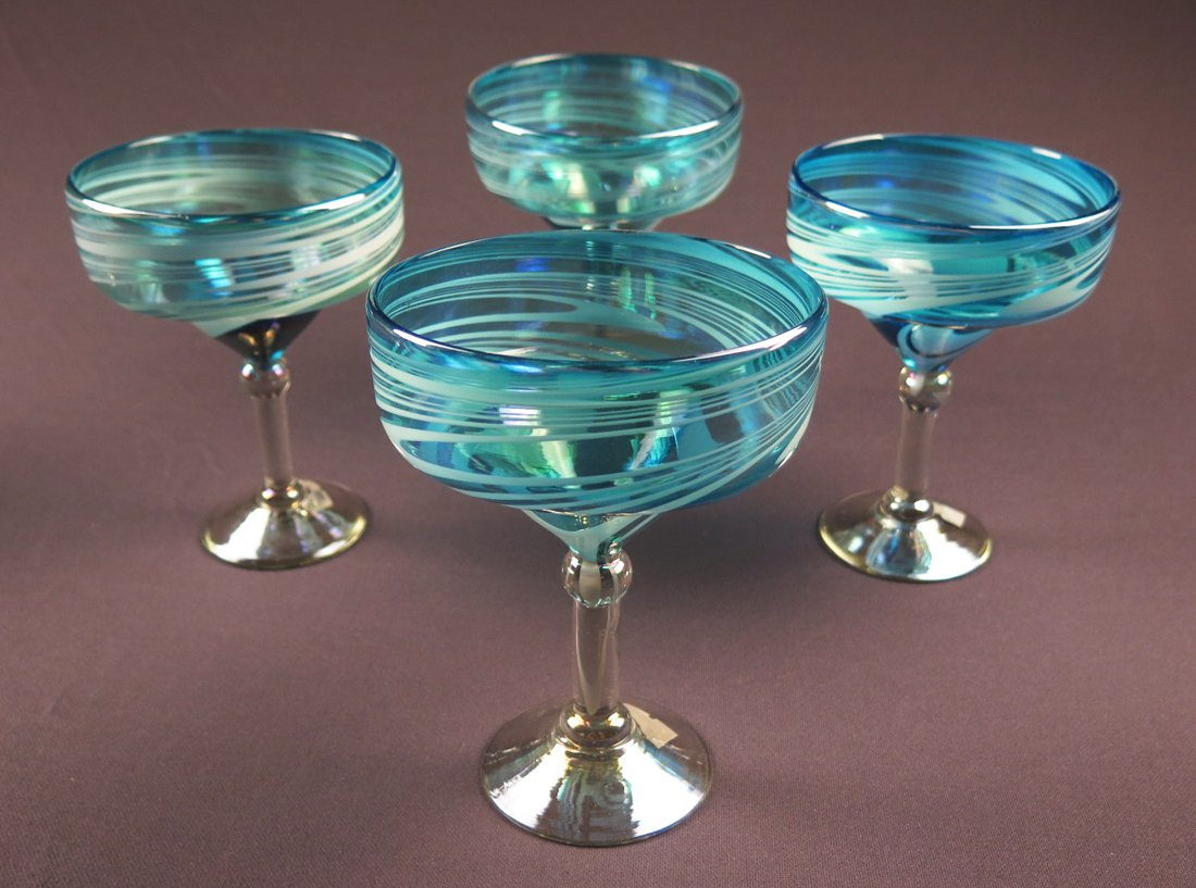 Mexican Margarita Glasses Turquoise White Swirl 15 oz set of 4