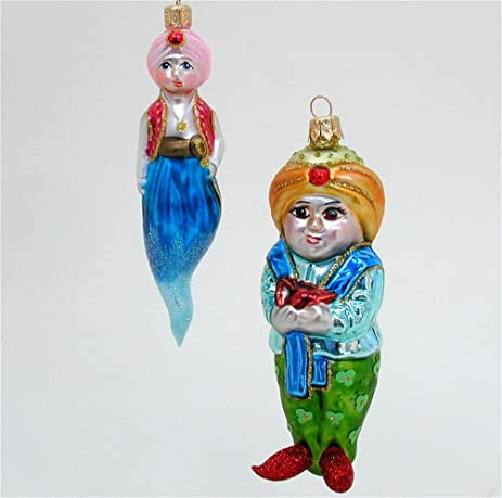 aladdin and his genie polish blown glass christmas ornaments - Blown Glass Christmas Ornaments