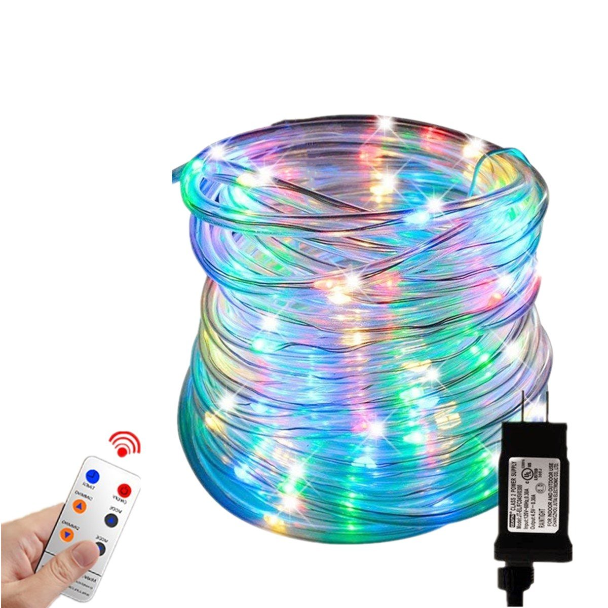 Zinuo LED String Rope Lights 33FT 136 LED Waterproof Outdoor Rope Lights, RF Remote, 8 Modes/Timer, Multi Color Patio Lights for Gardens Parties Wedding Holiday Decor (A Power Adaptor Included) by Zinuo (Image #2)