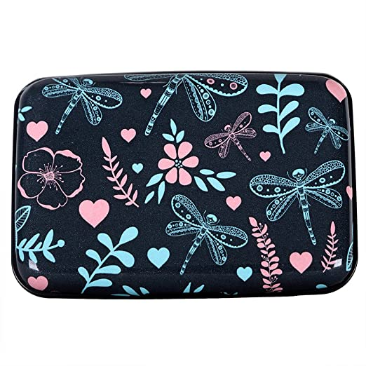 Aluminum wallet rfid blocking slim metal business credit card holder aluminum wallet rfid blocking slim metal business credit card holder hard case dragonfly and flower reheart Choice Image