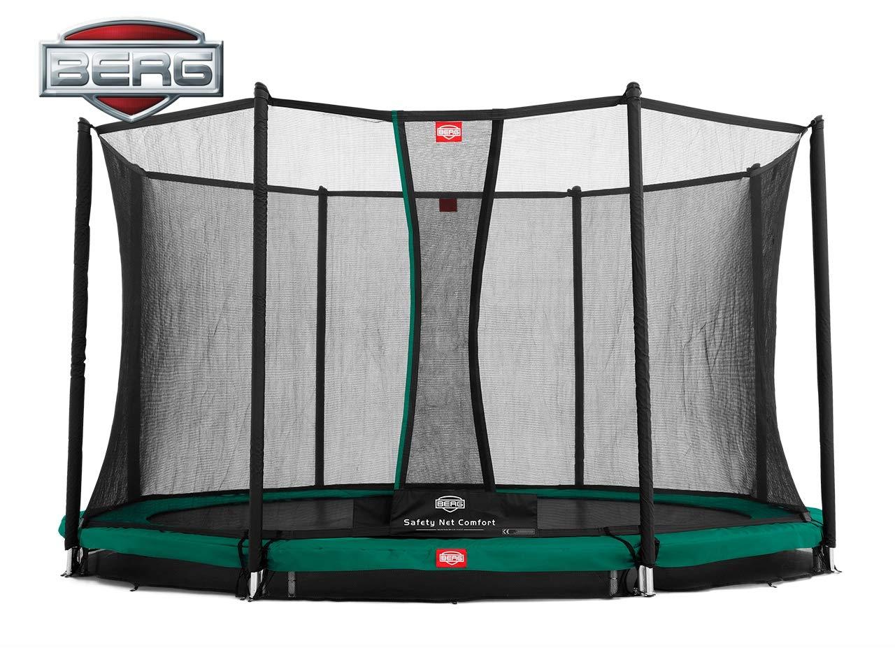 Berg® Trampolin InGround Champion mit Sicherheitsnetz Comfort, 380 cm, Randbezug Grün