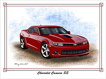 Superbe 2014 2015 Chevrolet Camaro SS Crystal Red Muscle Car Art Print By Rudy  Edwards 18u0026quot;