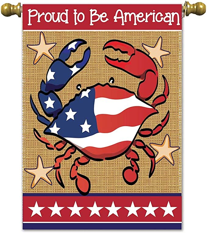 Proud To Be An American Lobster 18 X 13 Rectangular Burlap Double Applique Small Garden Flag Home Kitchen